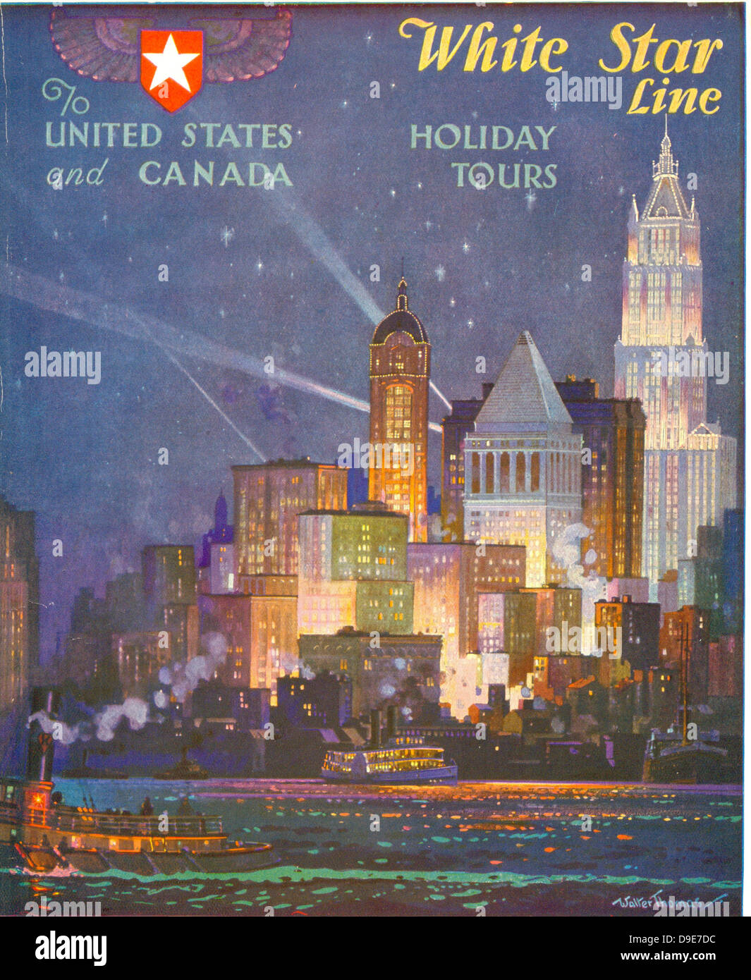 Advertisement leaflet for White Star Line Holiday Tours to the United States and Canada - Stock Image