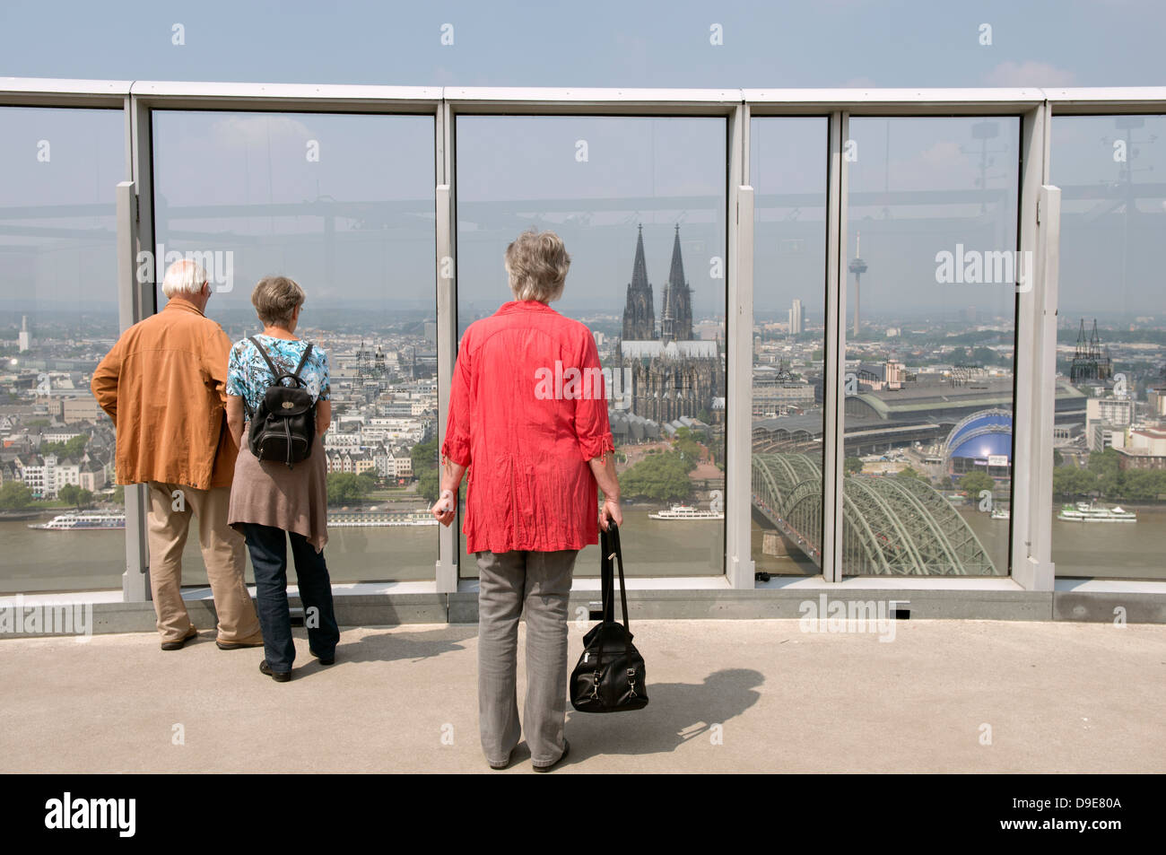 Sightseers on the observation deck of the Triangle building, Cologne, Germany. - Stock Image