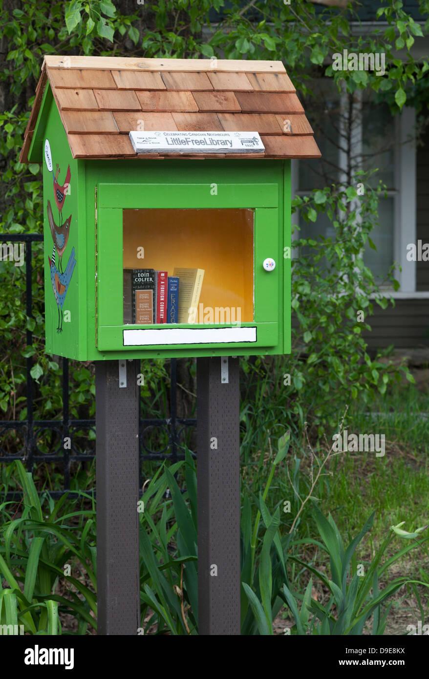 Little Free Library neighbourhood book exchange - Stock Image