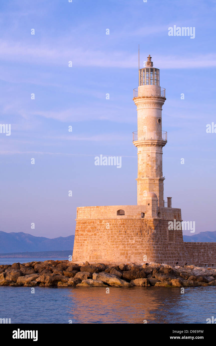 Chania's centuries old lighthouse in Venetian Harbour Stock Photo