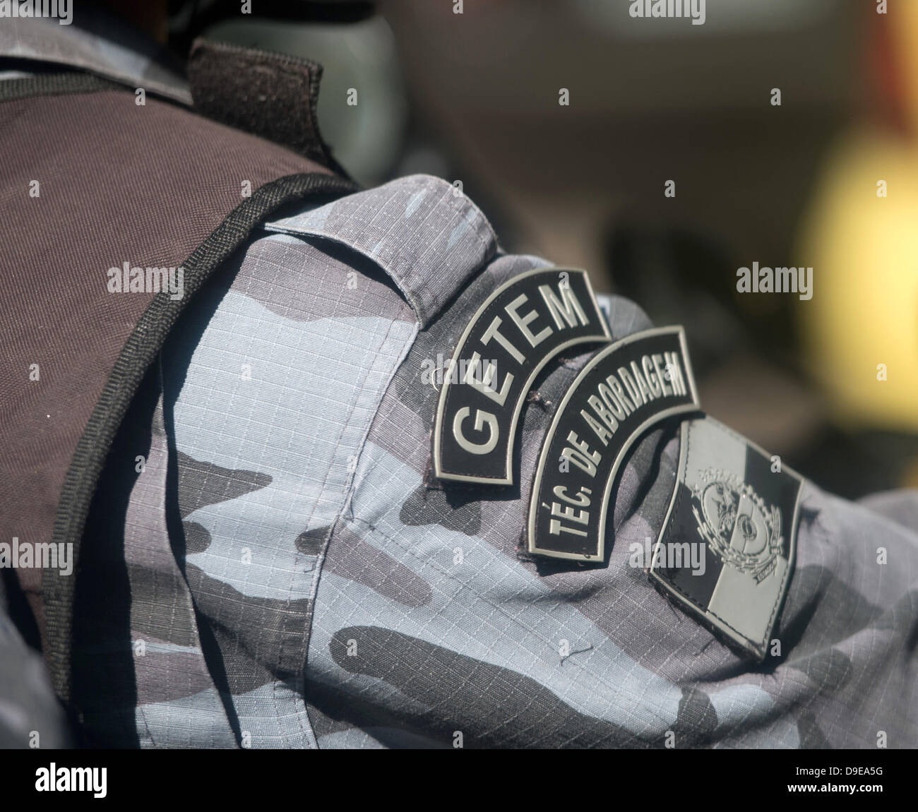 a960283cd The insignia of the Choque police unit is on display on a shoulder pad of a
