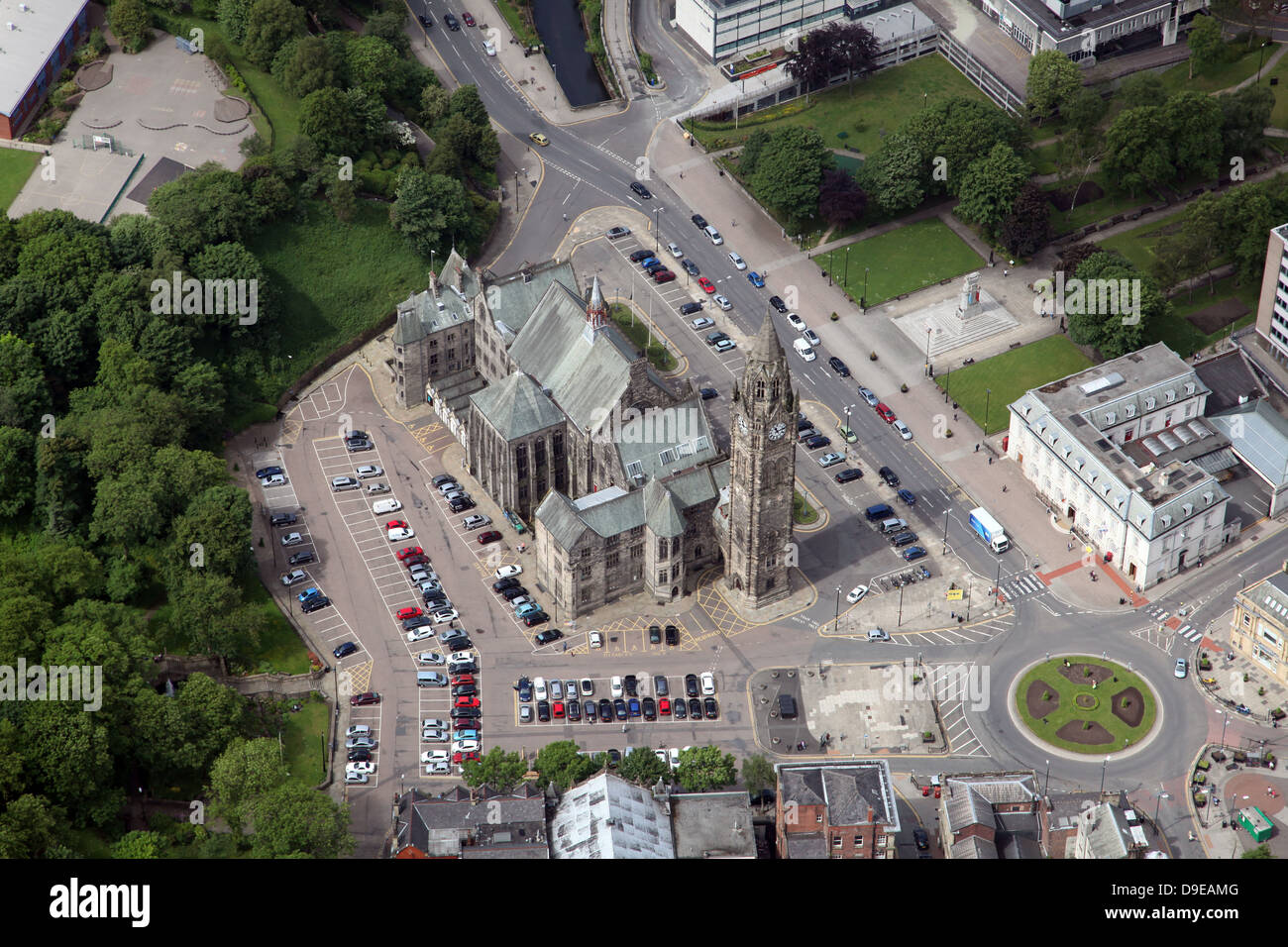 aerial view of Rochdale Town Hall - Stock Image