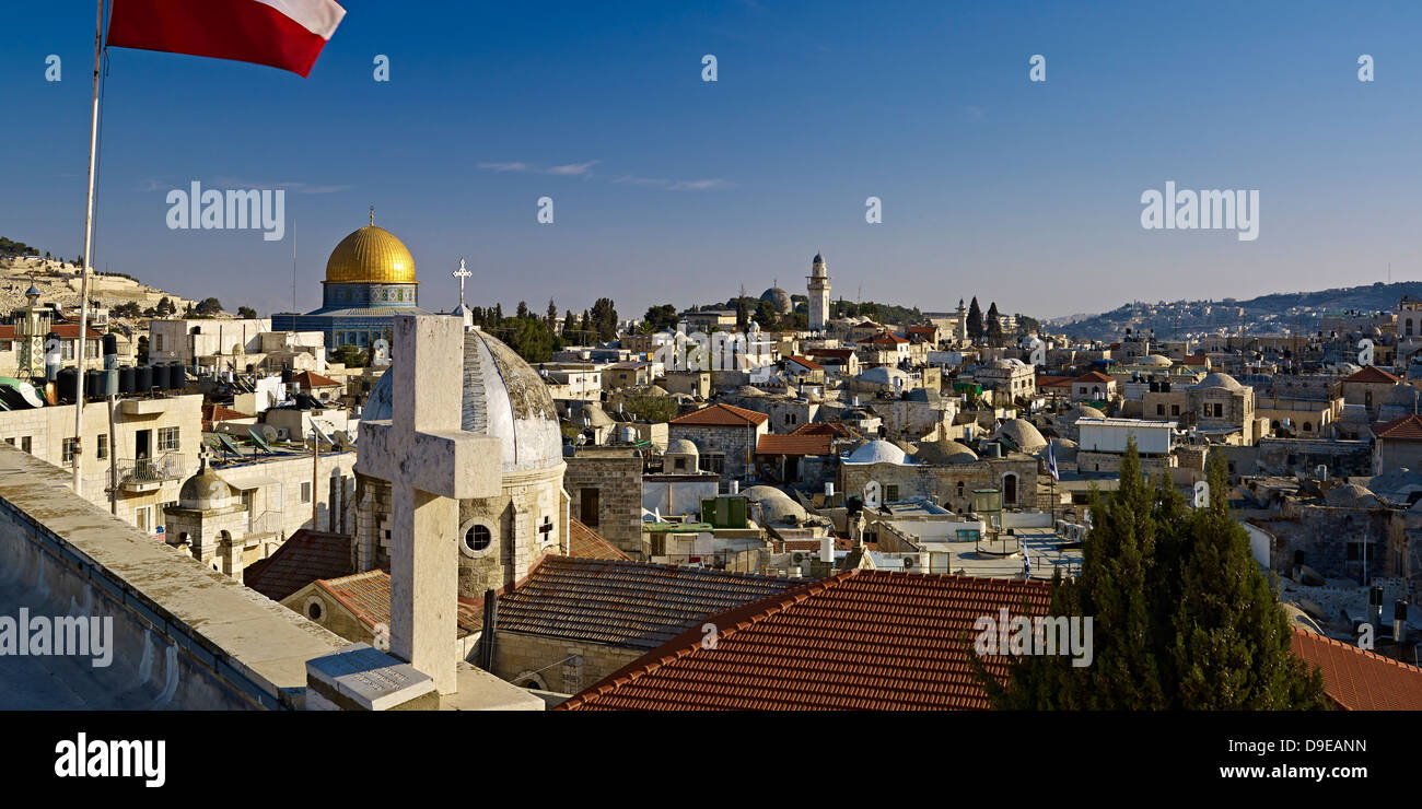 View roof Austrian Hospice to Old City Jerusalem with Dome Rock Dome Armenian Church Our Lady Spasm Israel Stock Photo