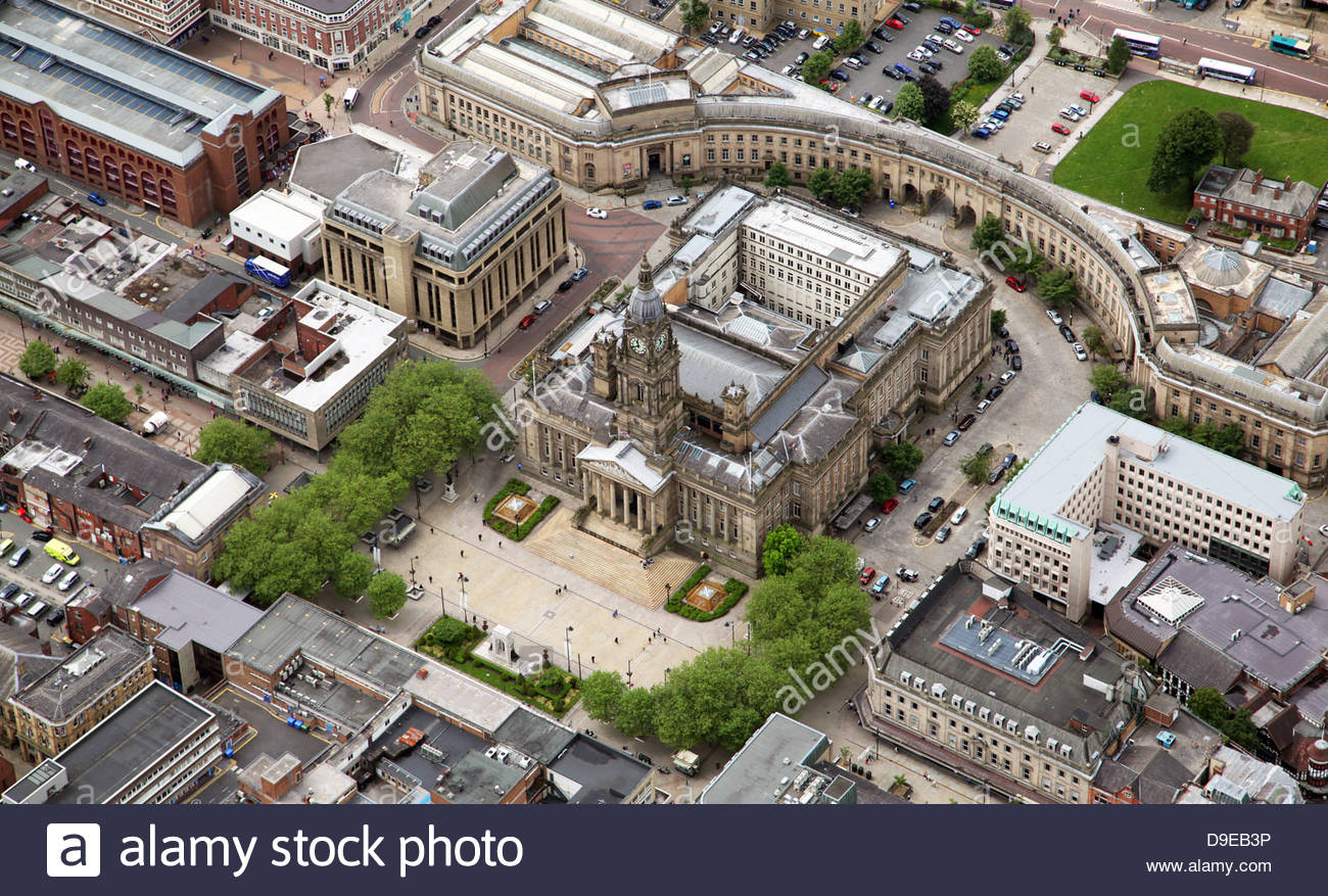 aerial view of Bolton Town Hall Stock Photo
