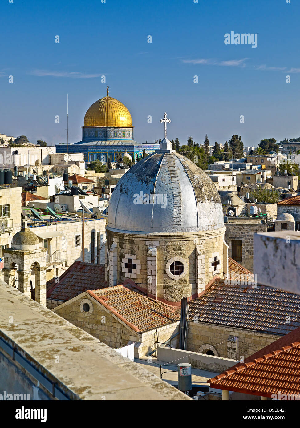 View roof Austrian Hospice to Old City Jerusalem with Dome Rock Dome Armenian Church Our Lady Spasm Israel - Stock Image