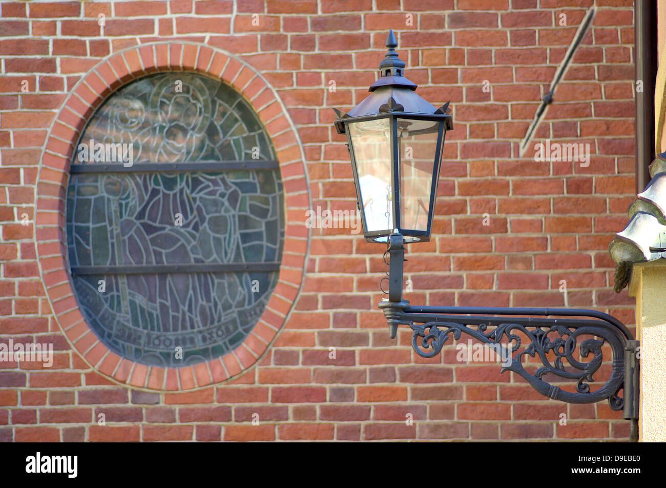 Street Lamp And Gothic Brick Wall Wroclaw Ostrow Tumski
