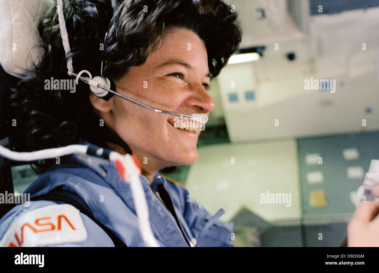NASA astronaut Sally Ride during her flight as the first American woman in space aboard the Shuttle Challenger June - Stock Image