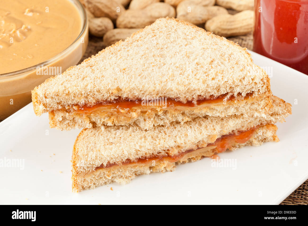 Fresh Homemade Peanut Butter and Jelly Sandwich - Stock Image