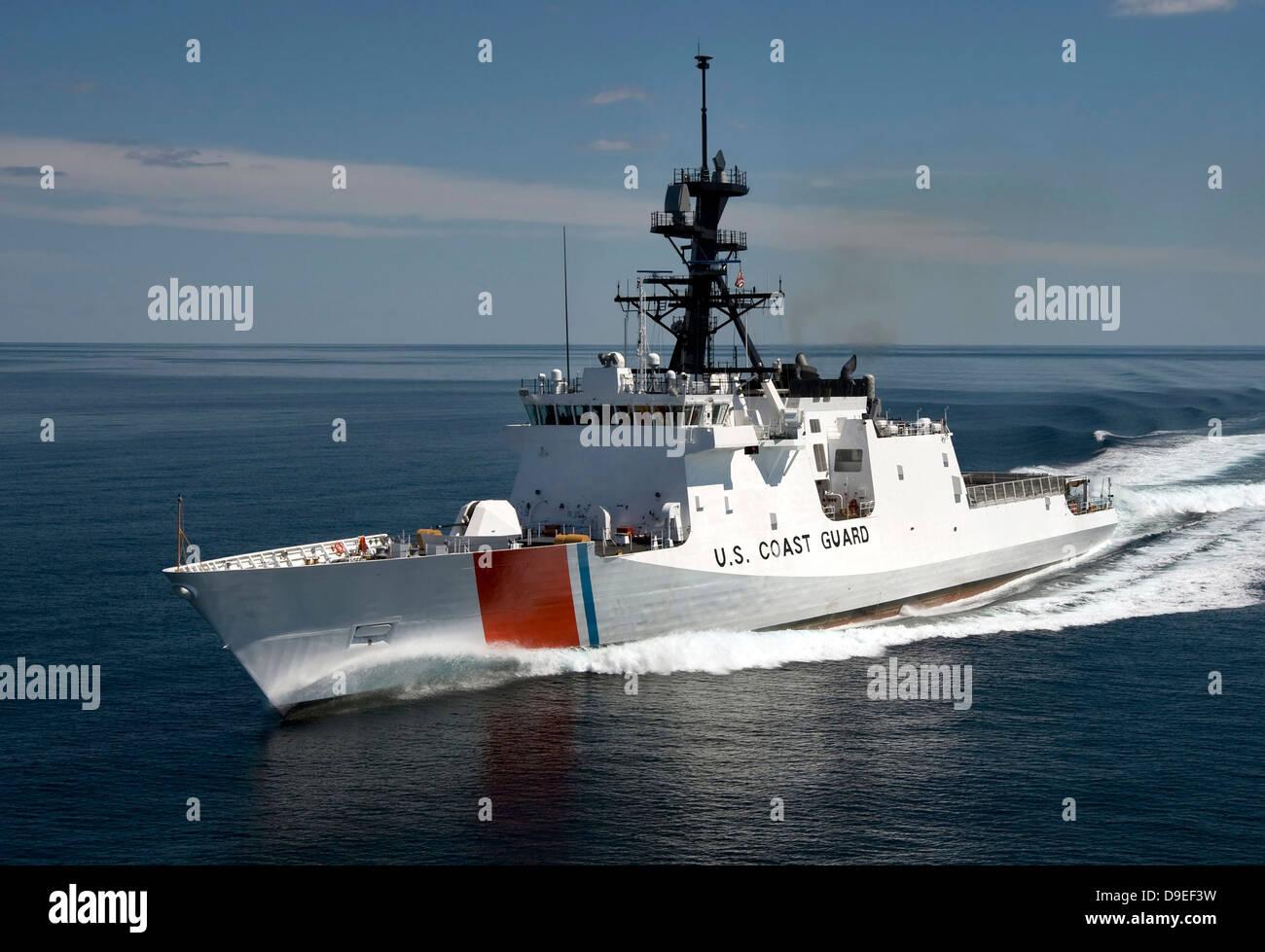 U.S. Coast Guard Cutter Waesche in the navigates the Gulf of Mexico. - Stock Image