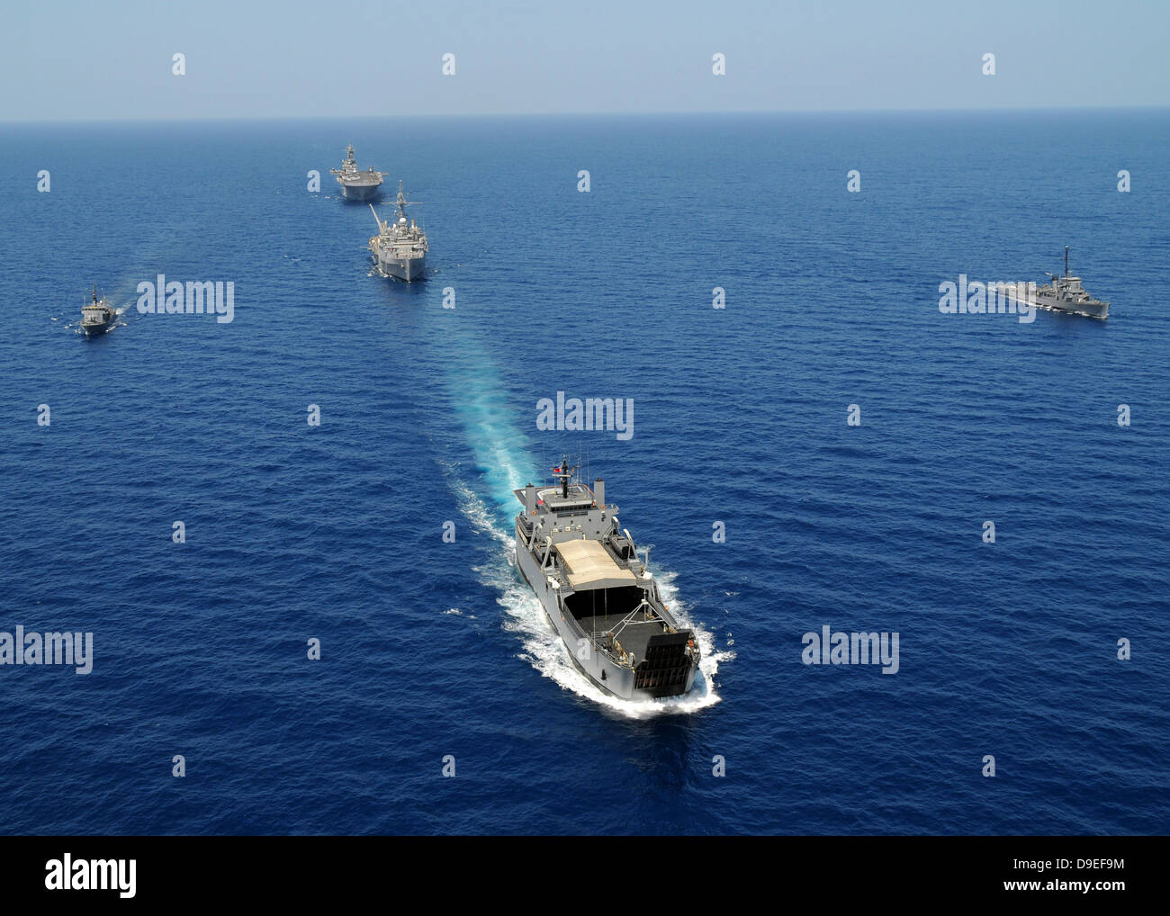 The Republic of the Philippines Navy ships cruise in formation while taking part in exercise Balikatan 2010. - Stock Image