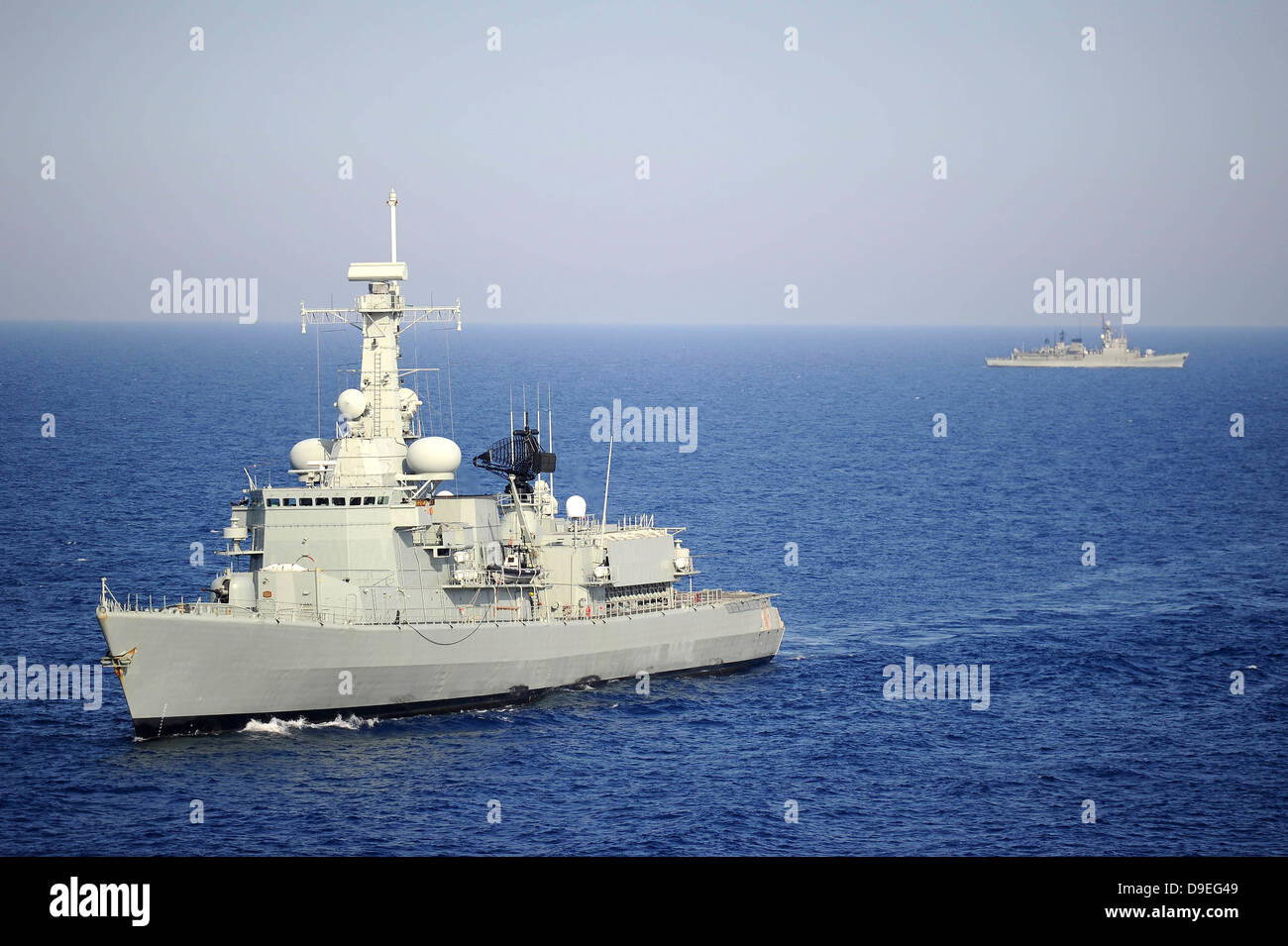 Portuguese navy frigate NRP Bartolomeu Dias in transit in the Mediterranean Sea. - Stock Image