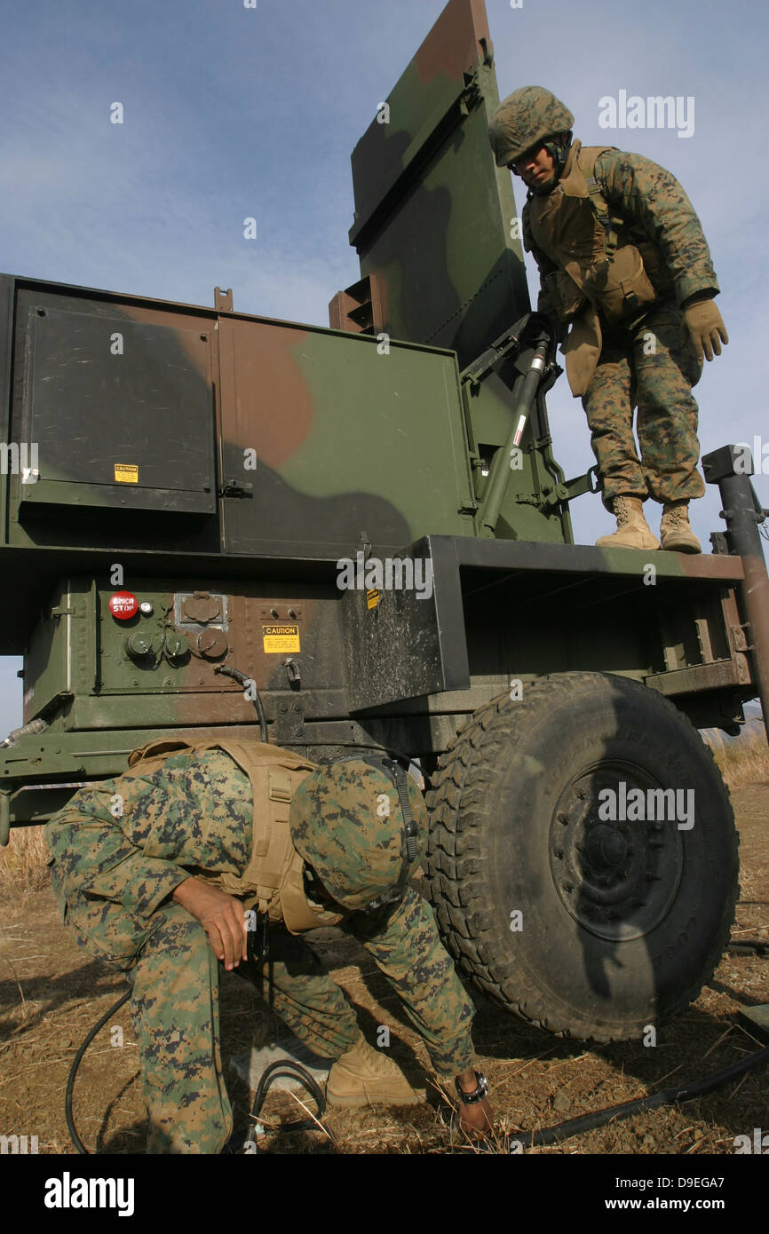 Marines prepare the antenna of an AN/TPQ-46A radar system. - Stock Image