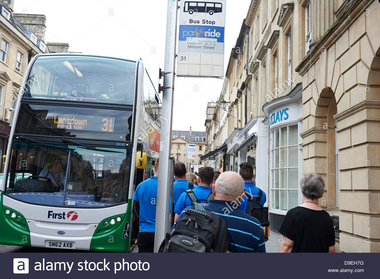 Bath in Somerset England UK tourist tourism park and ride bus Landsdown No 31 wait bus stop passengers wait board Stock Photo