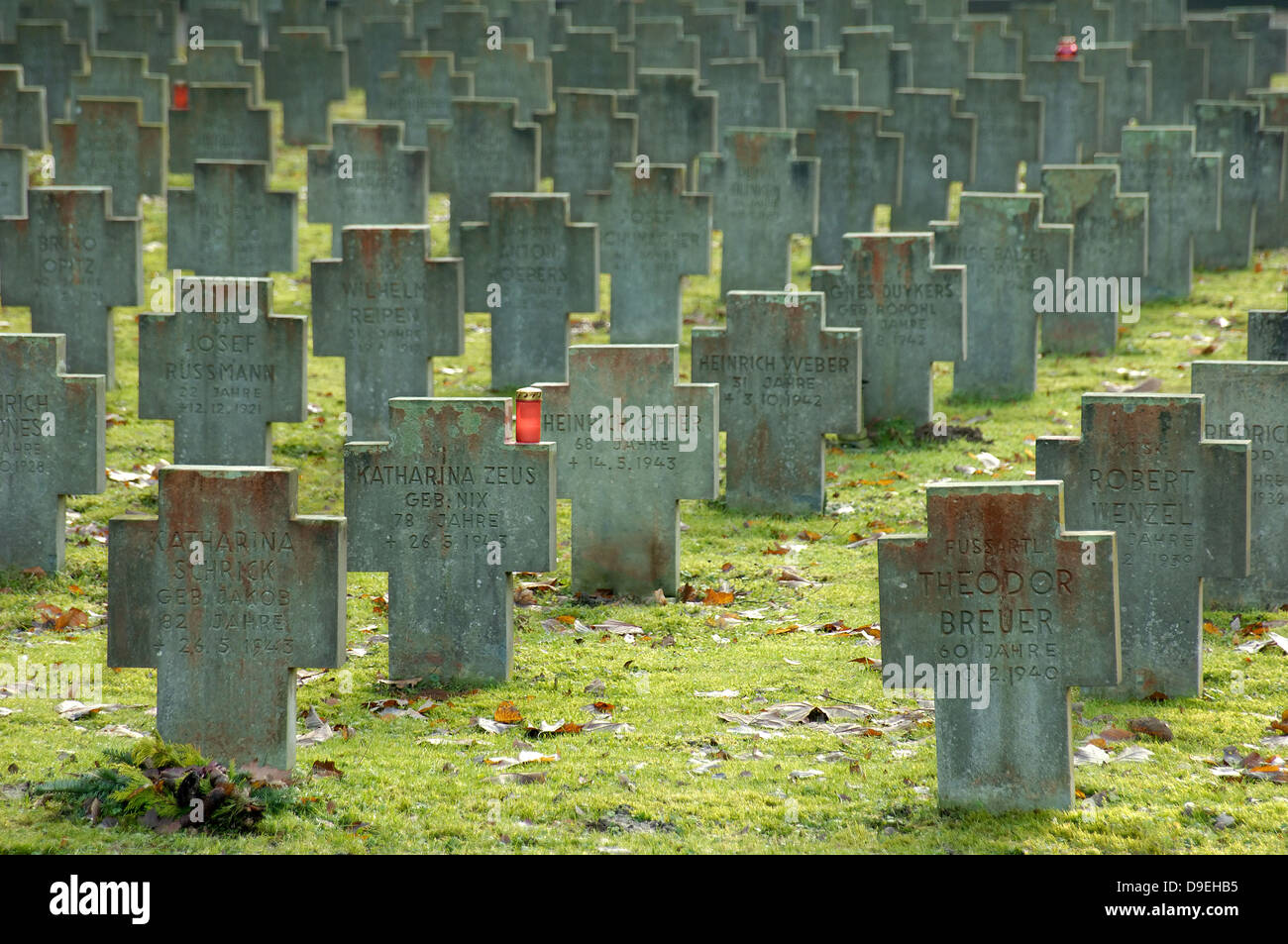 Graves of civil German bomb victims of the Second World War - Stock Image