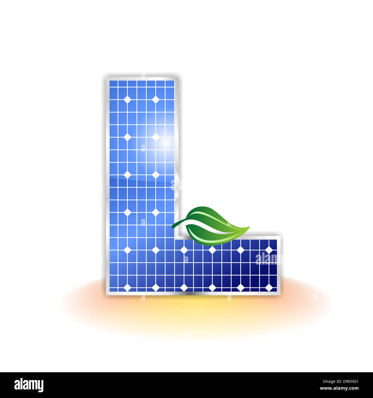 L, capital, letter L, solar panel, illustration, icon, texture - Stock Image