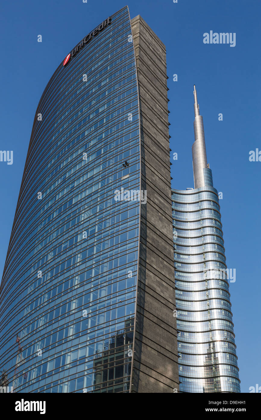 Milan, Porta Nuova, The Unicredit Tower, Lombardy, Italy - Stock Image