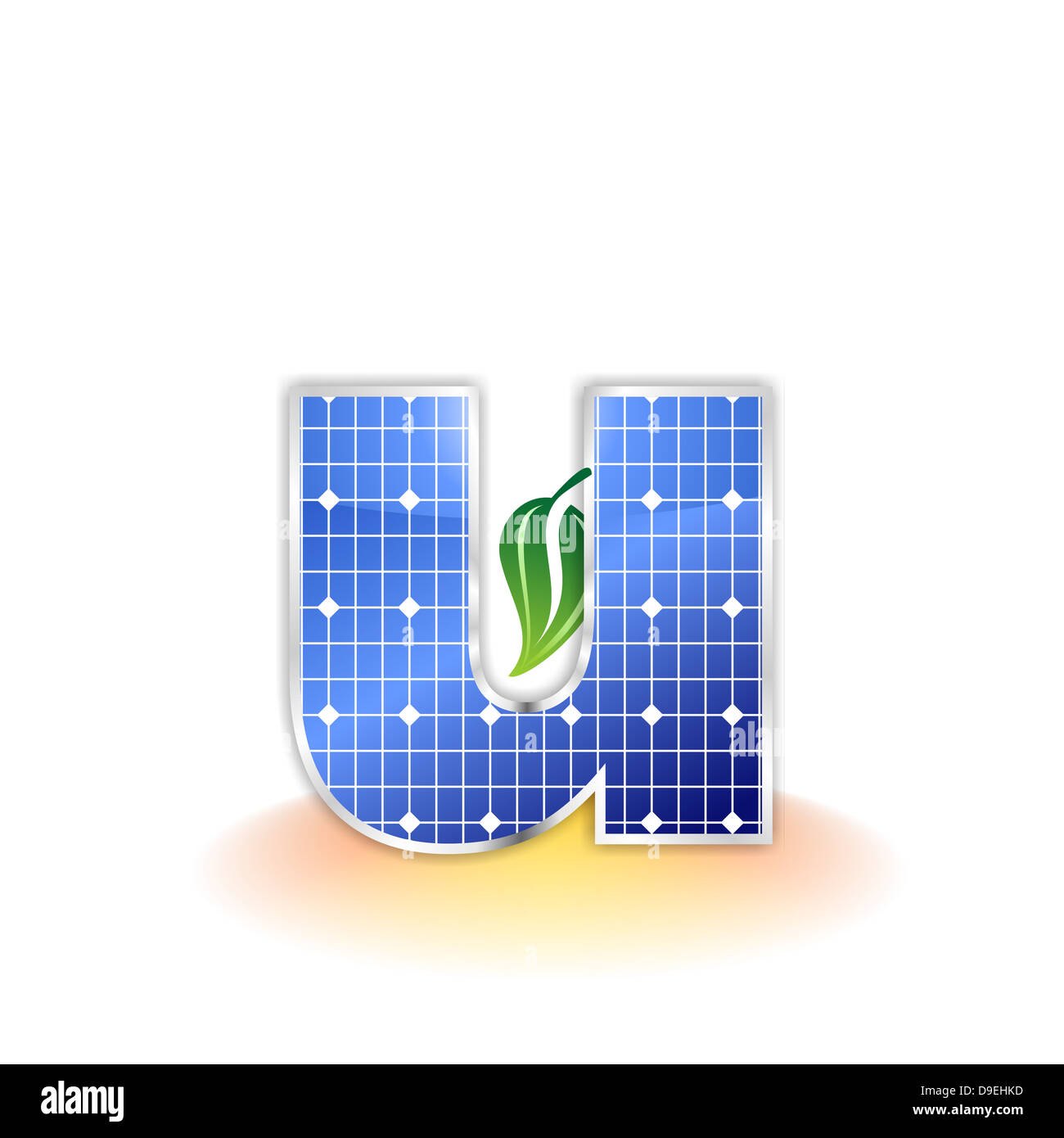 U, letter U, solar panel, illustration, icon, texture - Stock Image