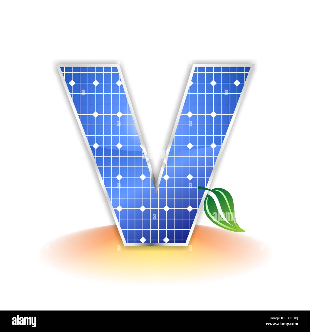 V, capital, letter V, solar panel, illustration, icon, texture - Stock Image