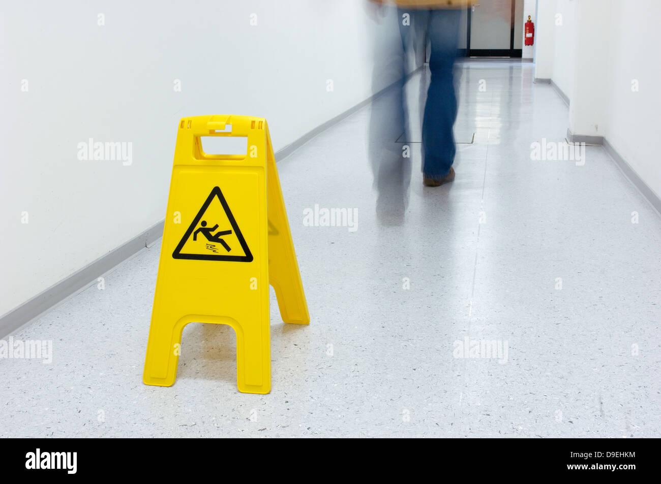 Warning for slippery floor - Stock Image