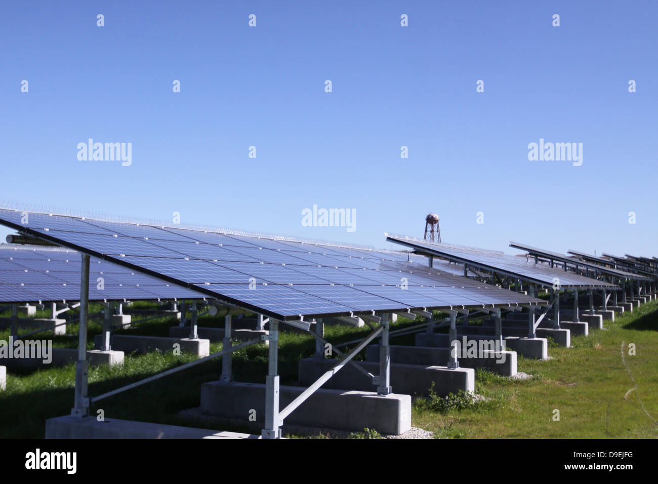 A photovoltaic system of solar cells. - Stock Image