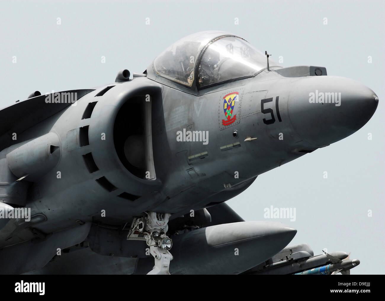 Close-up view of an AV-8B Harrier II. - Stock Image