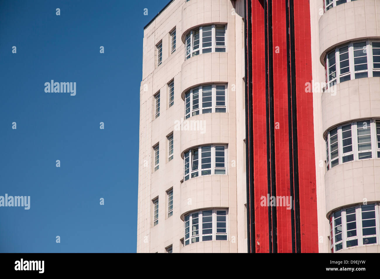 A close-up view of the art deco Beresford Building in Glasgow which is now an apartment building. - Stock Image
