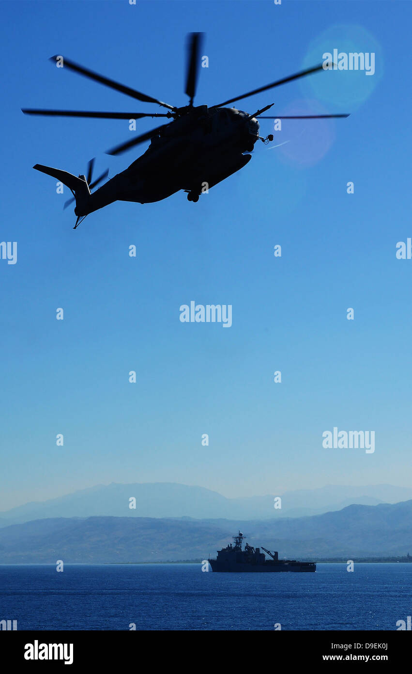 A CH-53E Super Stallion helicopter. - Stock Image