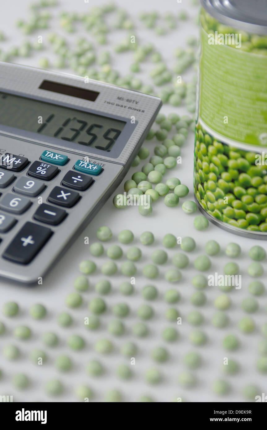 ccuracy meticulousness meticulously appeal arrange lined up line up Can Canned food Case fruits check checking Contents - Stock Image