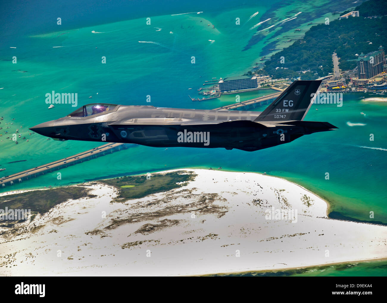 An F-35 Lightning II flies over Destin, Florida Stock Photo