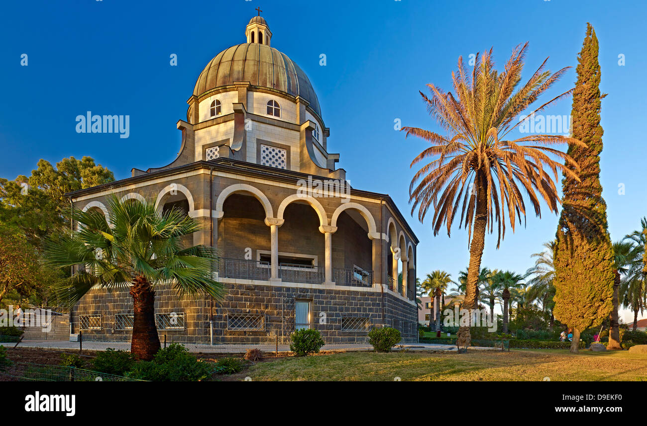 Church of the Beatitudes at the Sea of ​​Galilee, Israel Stock Photo