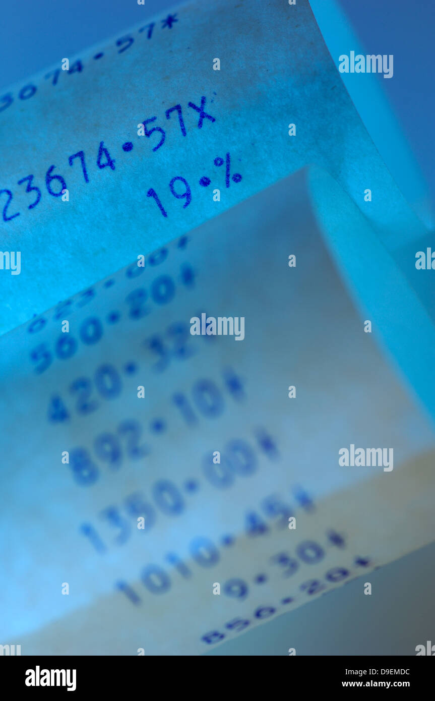 addition addition stripes audit work out document Bill blue blue calculating Calculating machine calculator Cash - Stock Image