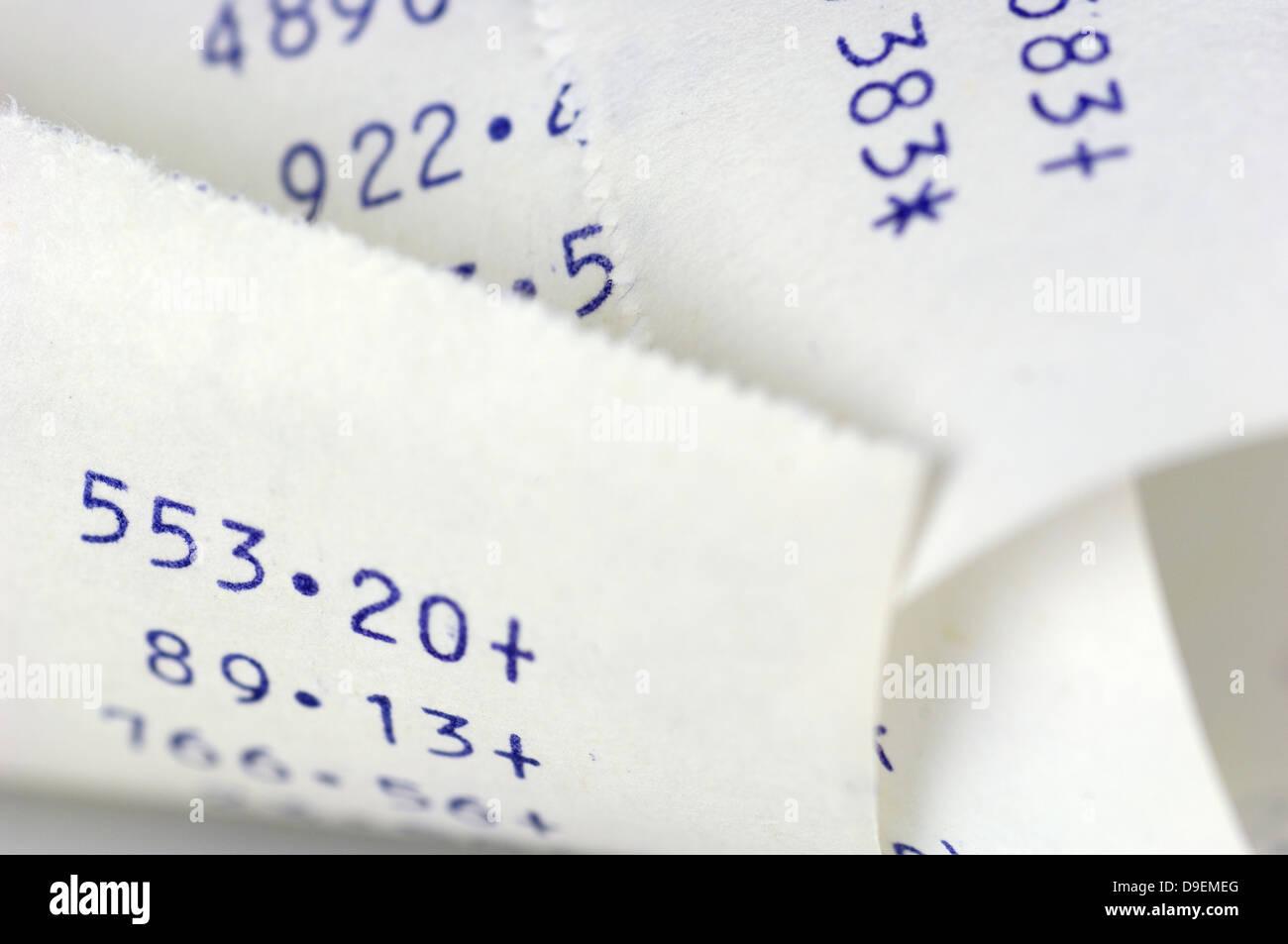 addition strip bill calculation - Stock Image