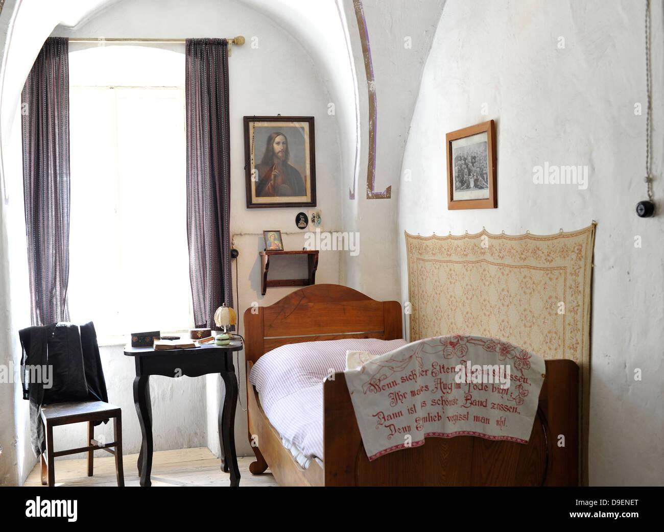 antique residential room sitting room with man's God's corner museum house Loisium wine world Langenlois - Stock Image