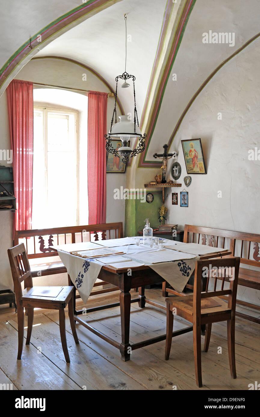 antique residential room, sitting room, with man's God's corner, museum house, Loisium wine world, Langenlois, - Stock Image