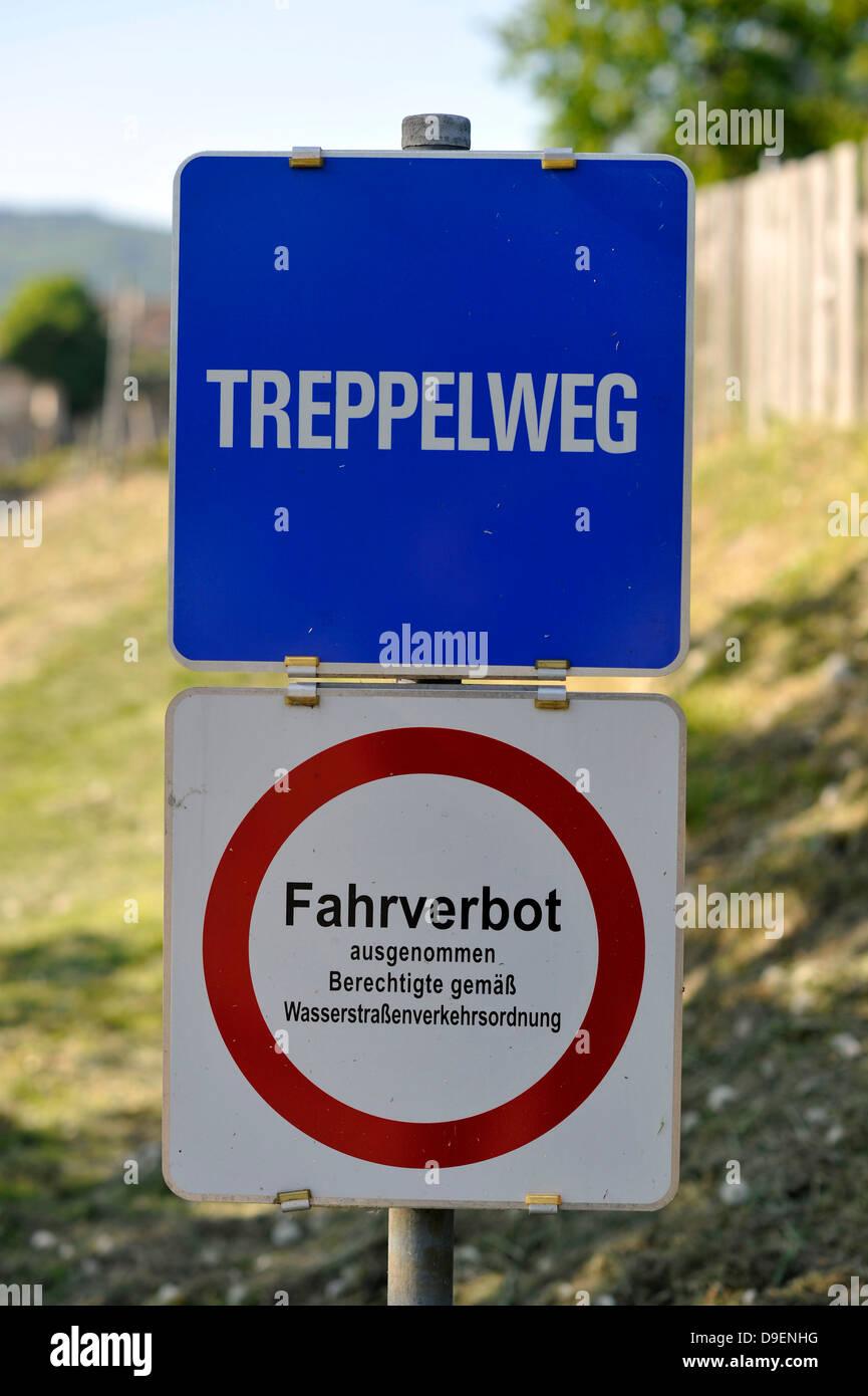 Treppelweg also towpath Treidelpfad horizontal bar way along the Danube Duernstein UNESCO world cultural heritage - Stock Image
