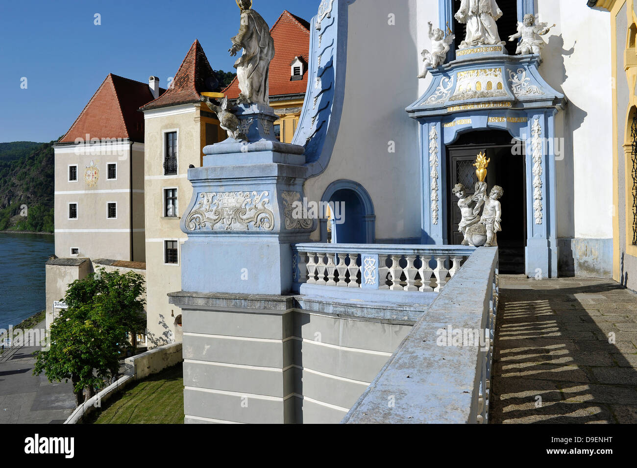 Cloister pencil Duernstein gallery with look at the Danube baroque angel UNESCO world cultural heritage world nature - Stock Image