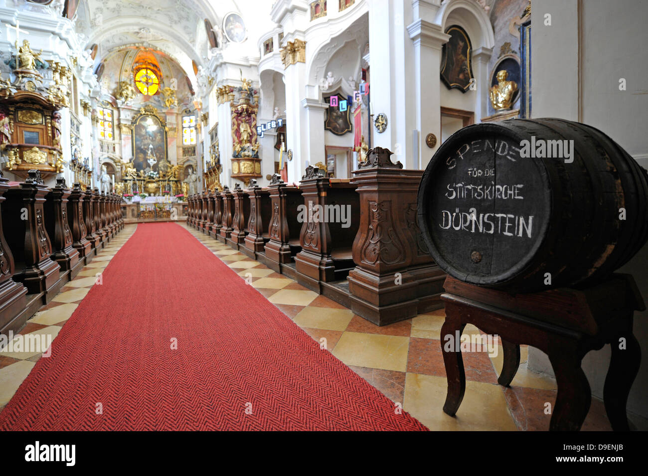 Wine cask for donations high altar with high altar picture choir pencil church canon's pencil cloister pencil - Stock Image