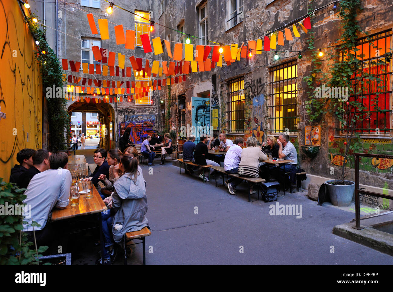 Beer garden, restaurant in the court, house Schwarzenberg in the minced meat ash market, Cafe Central, graffiti, - Stock Image