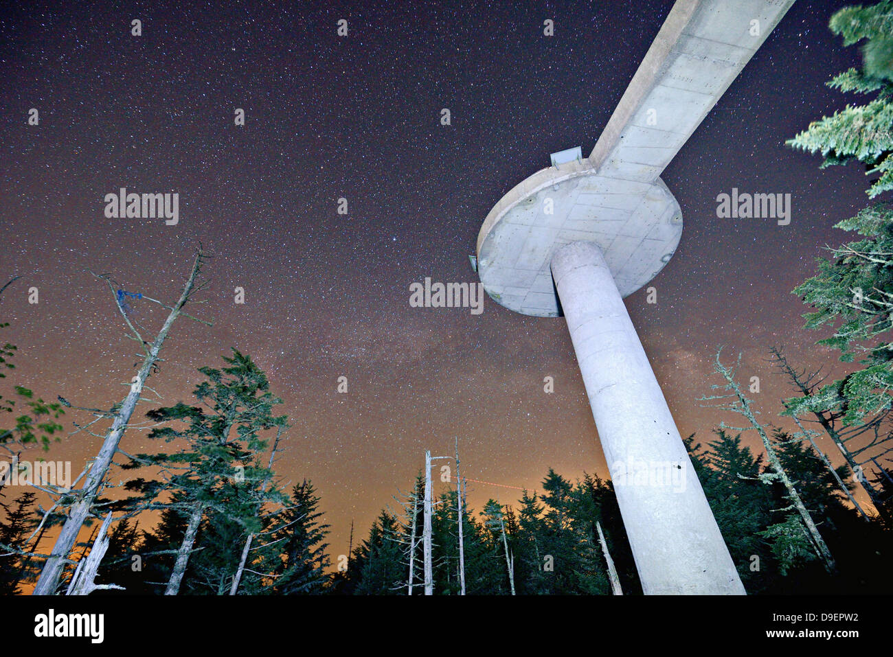 Clingman's Dome Observation point in the Great Smoky Mountains near Gatlinburg, Tennessee. - Stock Image
