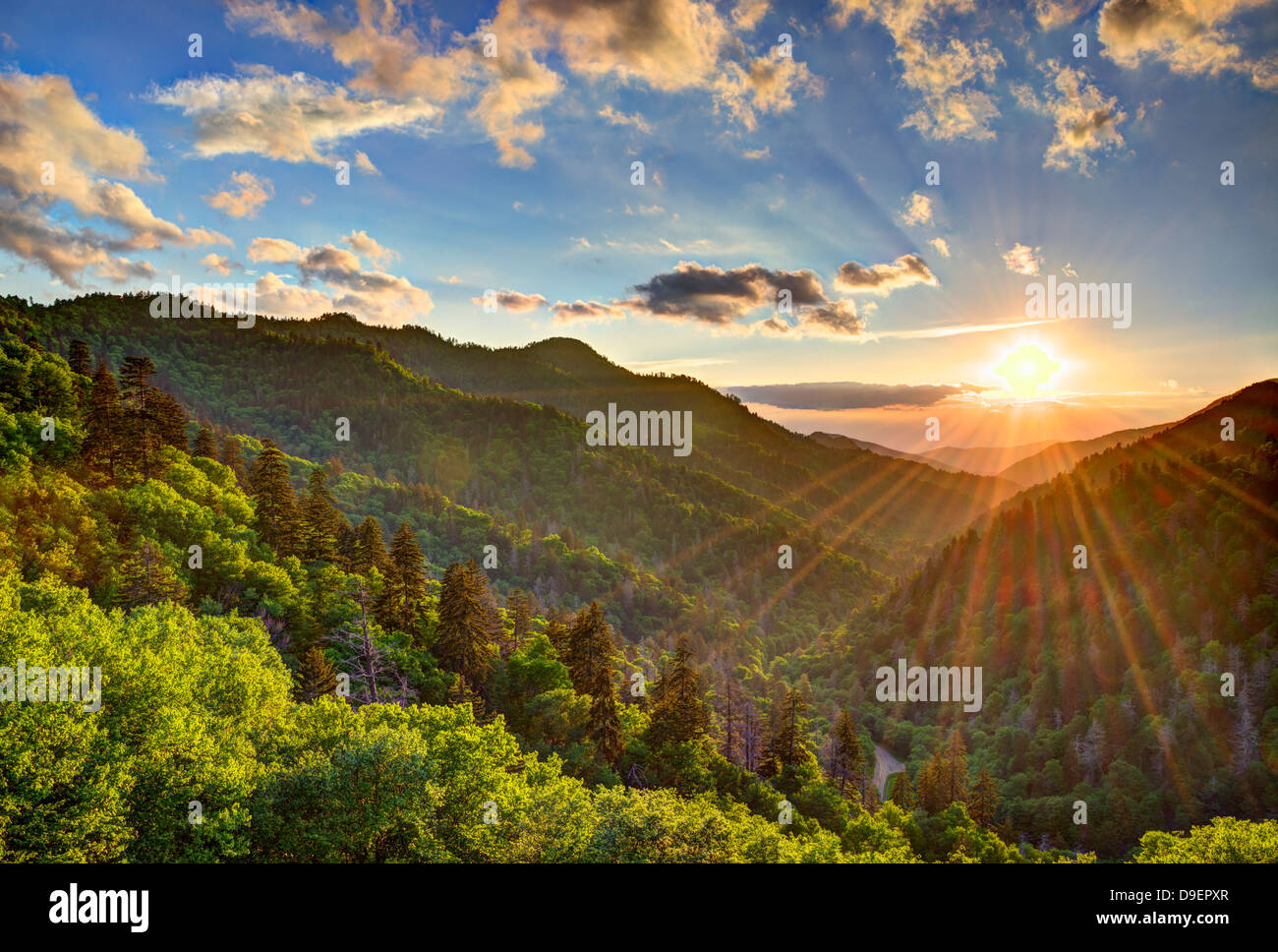 Newfound Gap in the Smoky Mountains near Gatlinburg, Tennessee. - Stock Image