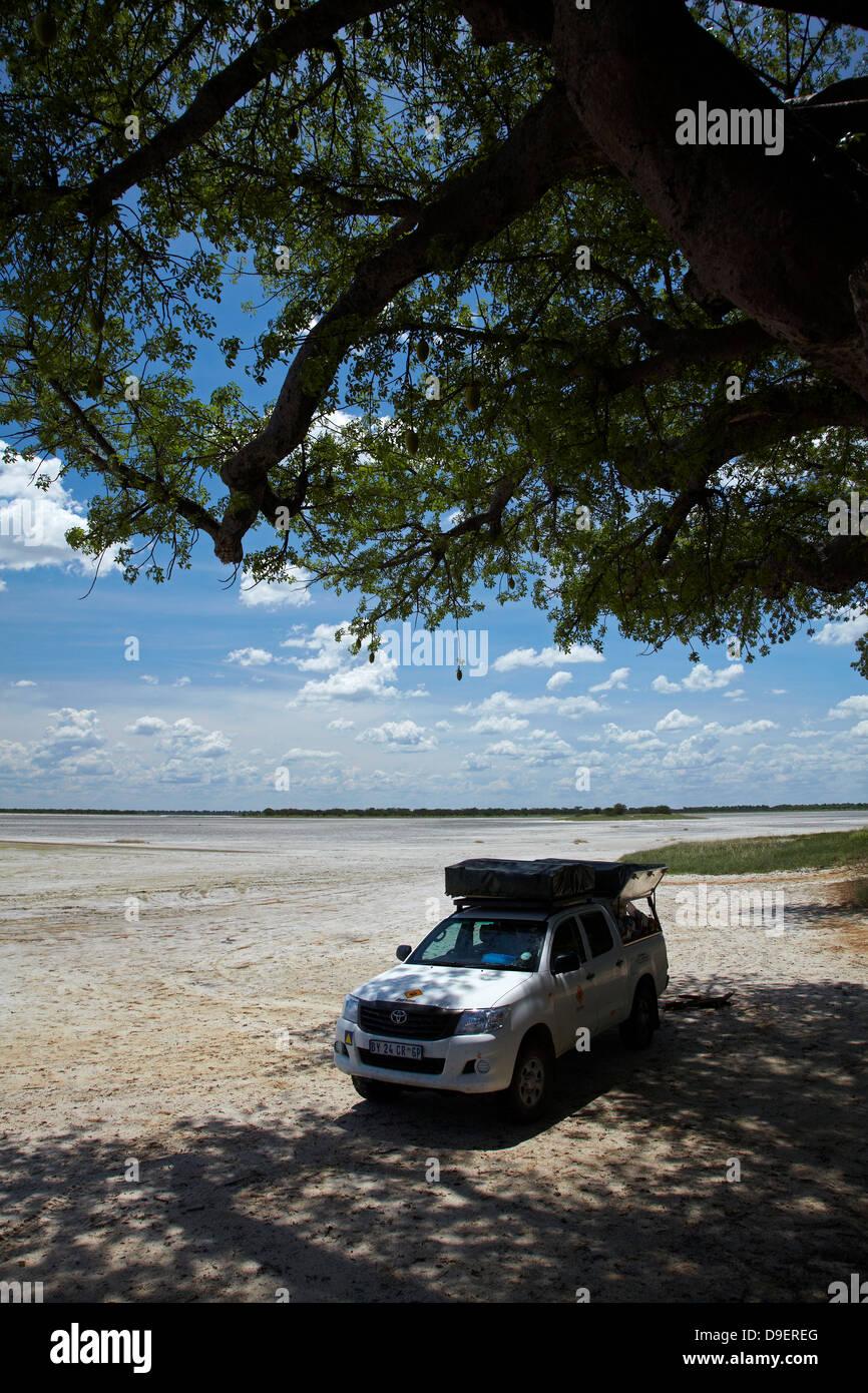4x4 camper at Baines' Baobabs, Kudiakam Pan, Nxai Pan National Park, Botswana, Africa - Stock Image
