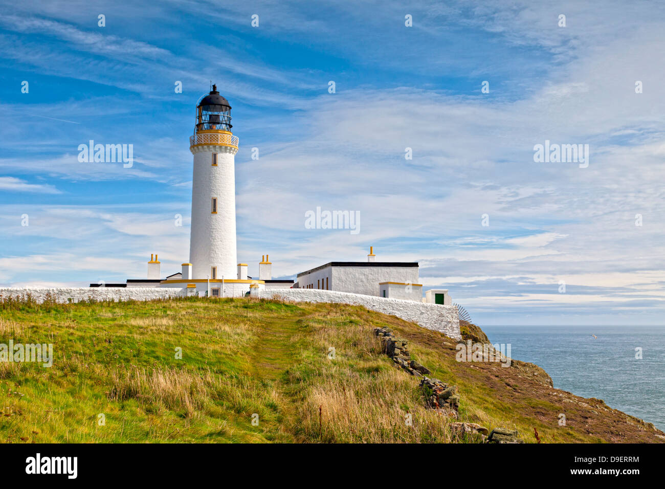 The lighthouse at the Mull of Galloway, the most southerly point of Scotland. - Stock Image