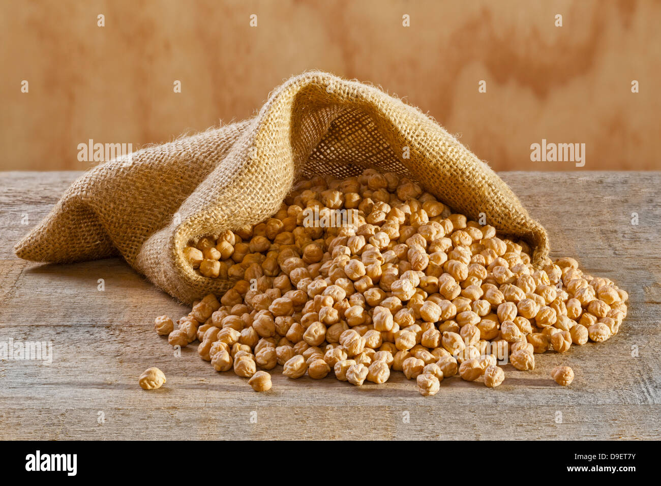 Chickpeas in Burlap Sack - raw chickpeas spilling from a burlap or jute sack. - Stock Image