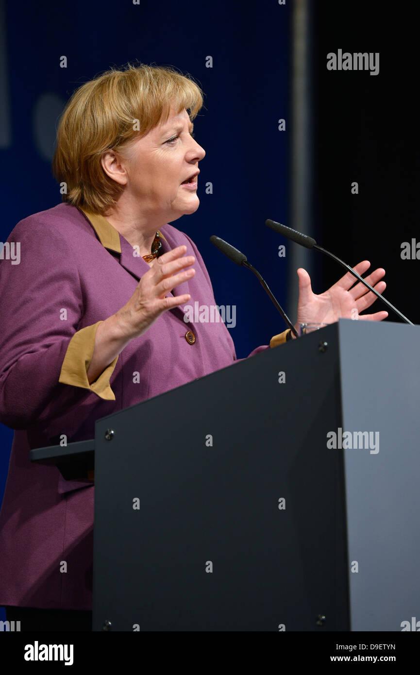 Speech of the Federal Chancellor woman Dr. Angela Merkel CDU Stuttgart, Baden-Wurttemberg, Germany, Europe  - Stock Image