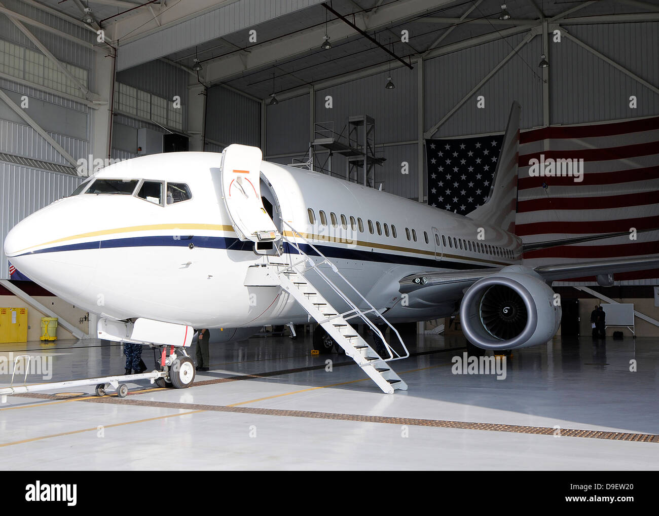 A C-40 Clipper in a hangar after arriving at Naval Air Station North Island. Stock Photo