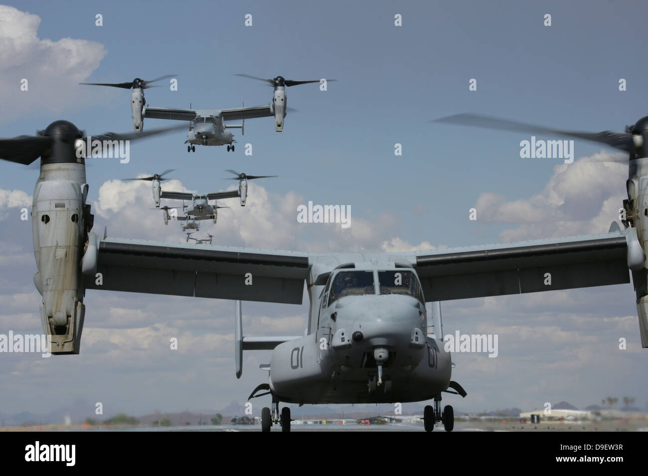 U.S. Marine Corps MV-22 Osprey tiltrotor aircraft prepare for landing. Stock Photo