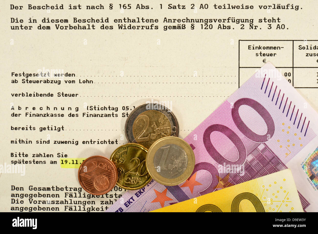 Tax additional payment, income tax additional payment, appointment, assessment notice, euro-notes, bank notes, money, - Stock Image