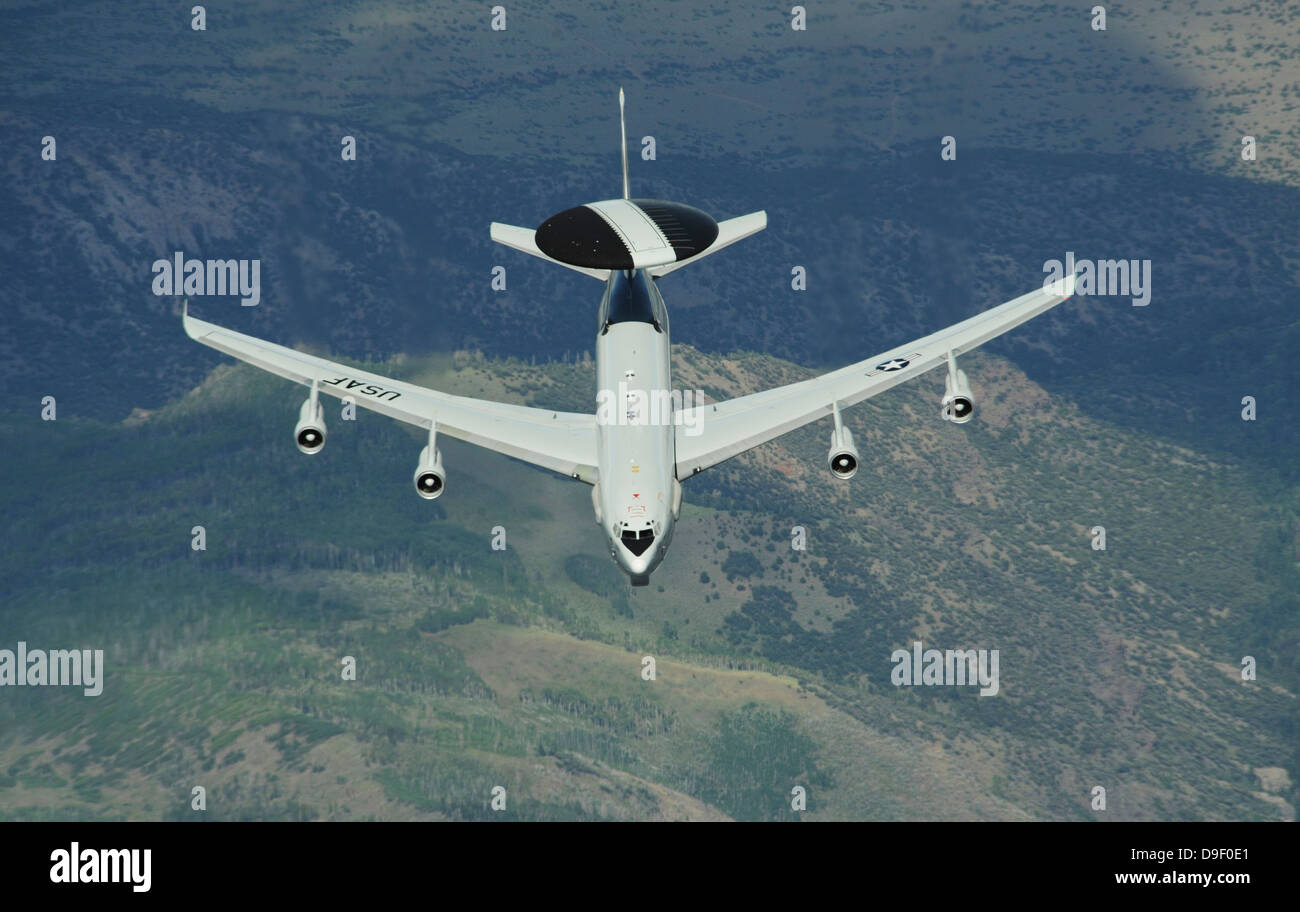 A U.S. Air Force E-3 Sentry airborne warning and control system aircraft. - Stock Image