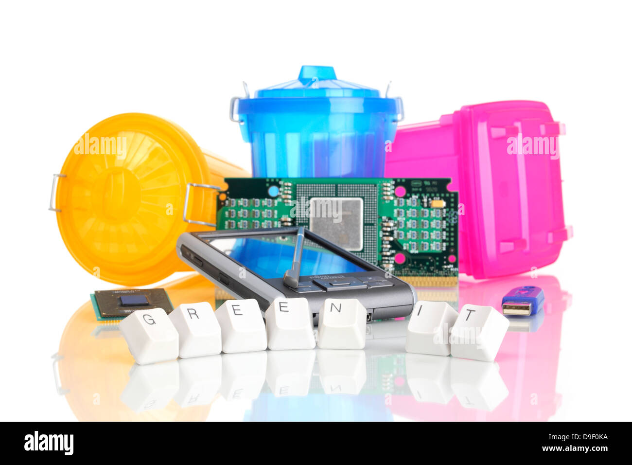 PDA, computer components and garbage tonnes PDA, computer of part and trash cans - Stock Image