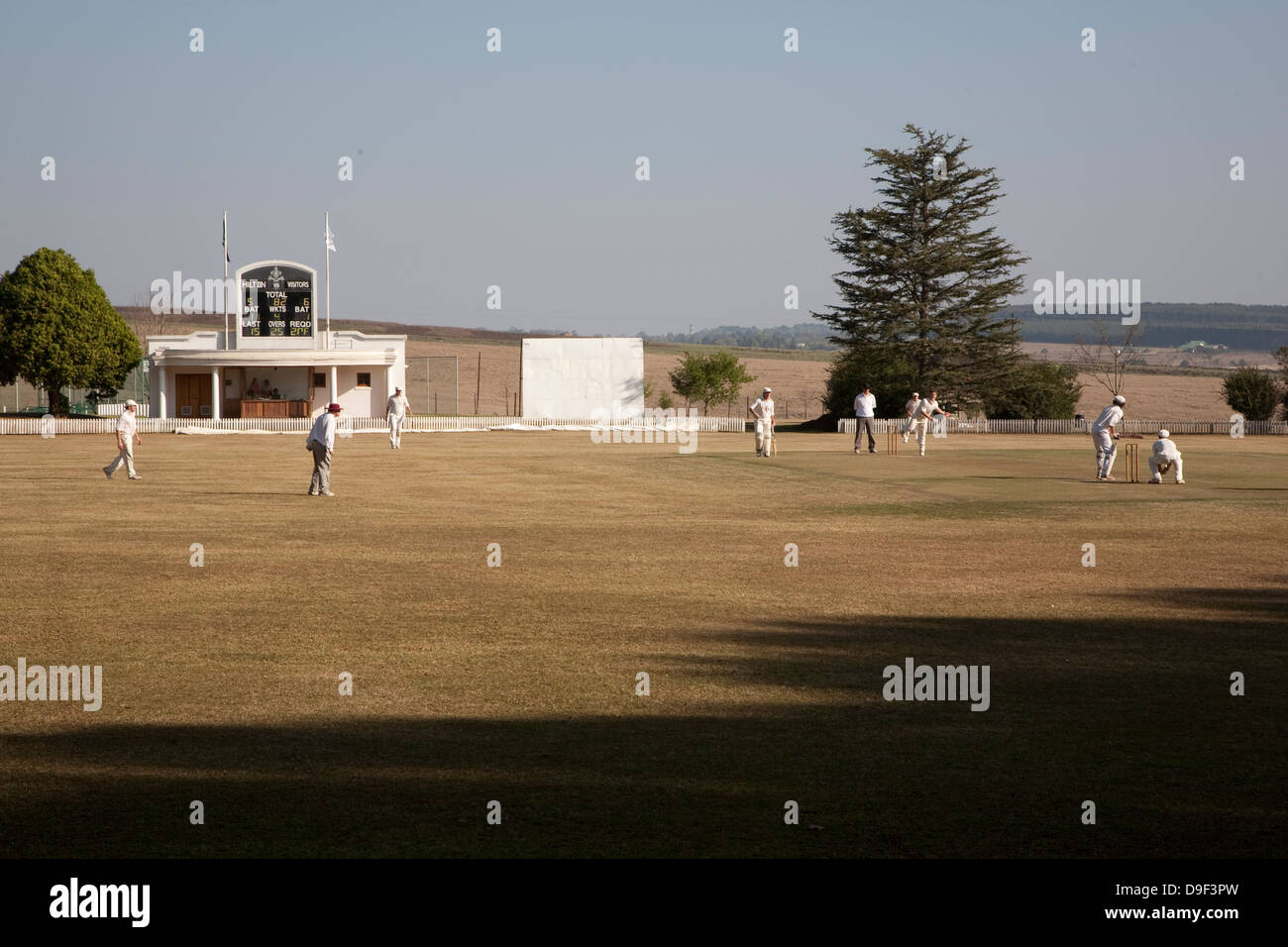 Cricket at Hilton College, Midlands, KwaZulu-Natal. The Hilton Old Boys were taking on the Hilton College First Stock Photo
